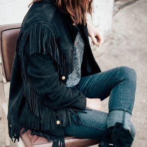Daryl K X Madewell Suede Leather Fringe Jacket